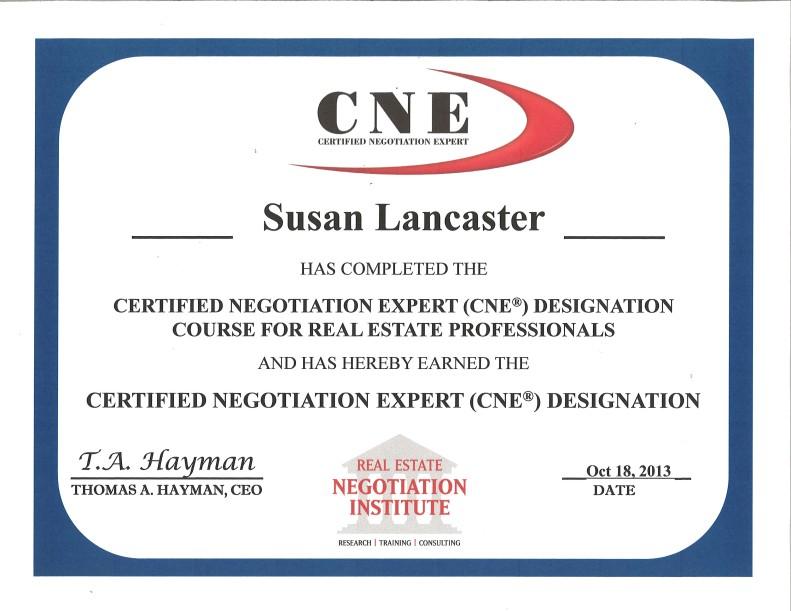 "SUSAN LANCASTER, BROKER earns her ""CERTIFIED NEGOTIATION EXPERT (CNE ..."